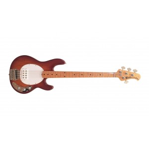 Music Man StingRay Classic 4 MP Birdseye Honeyburst com escudo branco