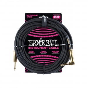 Ernie Ball – Braided Cable P10A-P10S 25 pés (7,62m) Black – 6058