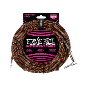 Ernie Ball – Braided Cable P10A-P10S 25 pés (7,62m) Orange – 6064