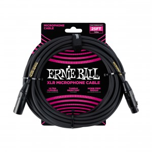 Ernie Ball – Microphone Cable XLR 25 pés (7,62m) Black – 6073